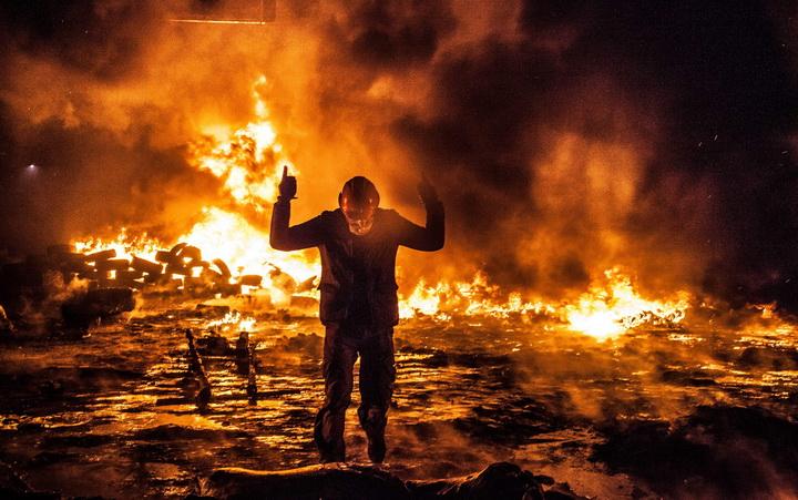 Manifestation pro europeenne a Kiev en Ukraine