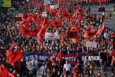 SKOPJE, MACEDONIA - MAY 09: Ethnic Albanians wave Albanians and